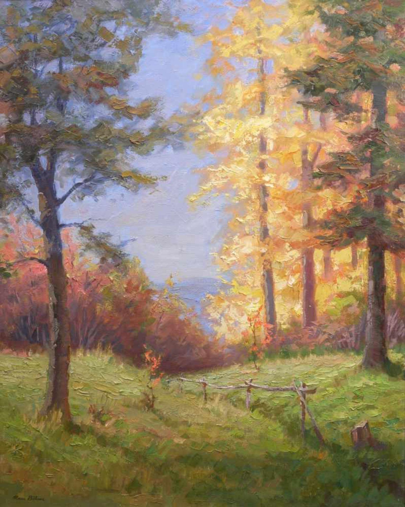 Böhme, Hans (1905-1982) - Herbstlicher LaubwaldIn golden-herbstlicher Farbpalette strahlt diese - Bild 2 aus 5