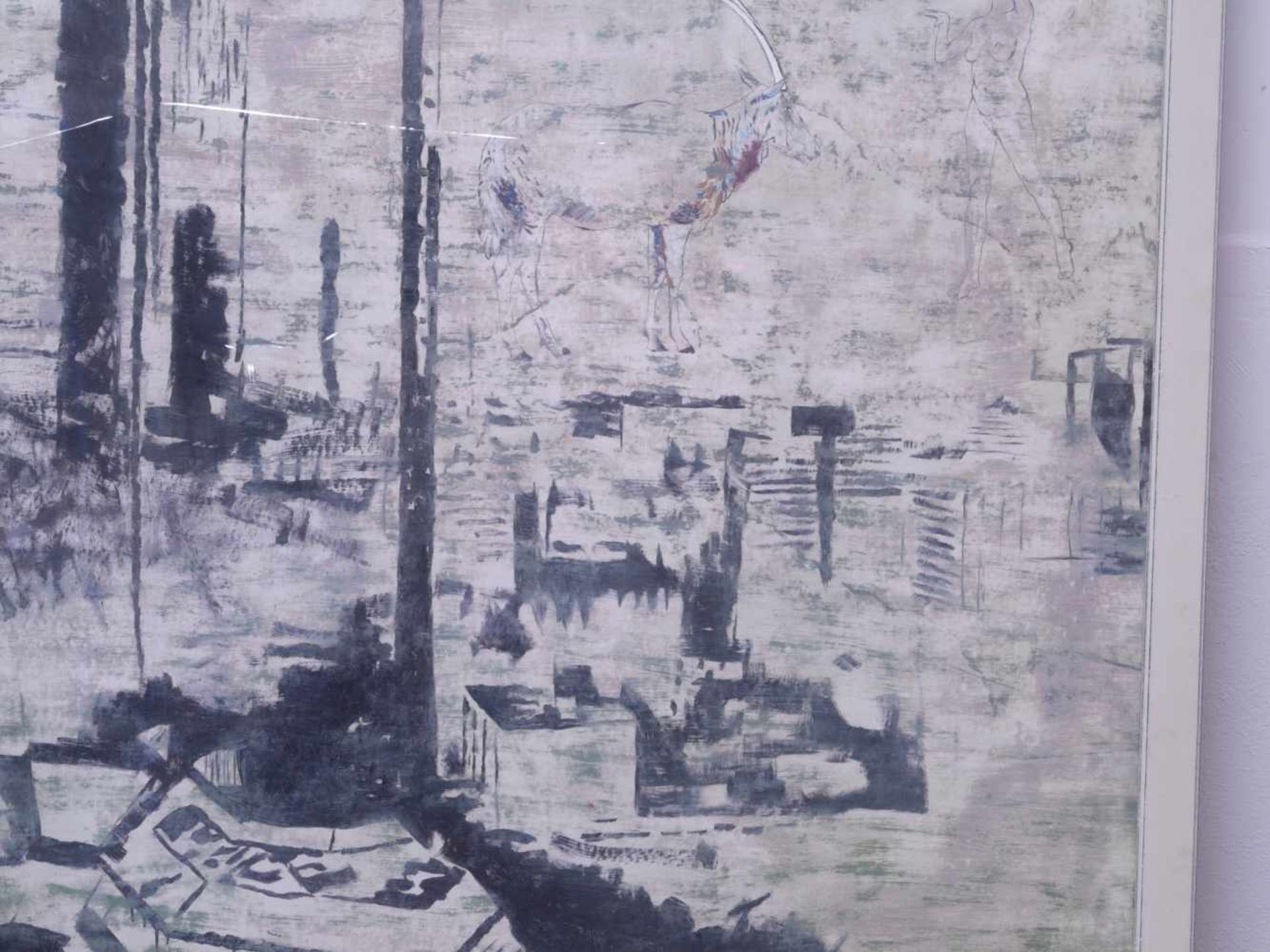 """Dauphin, Peter genannt Muth (Nürnberg 1957) - Großformatiges Gemälde """"Alpstadt""""Sehr großes - Bild 5 aus 6"""