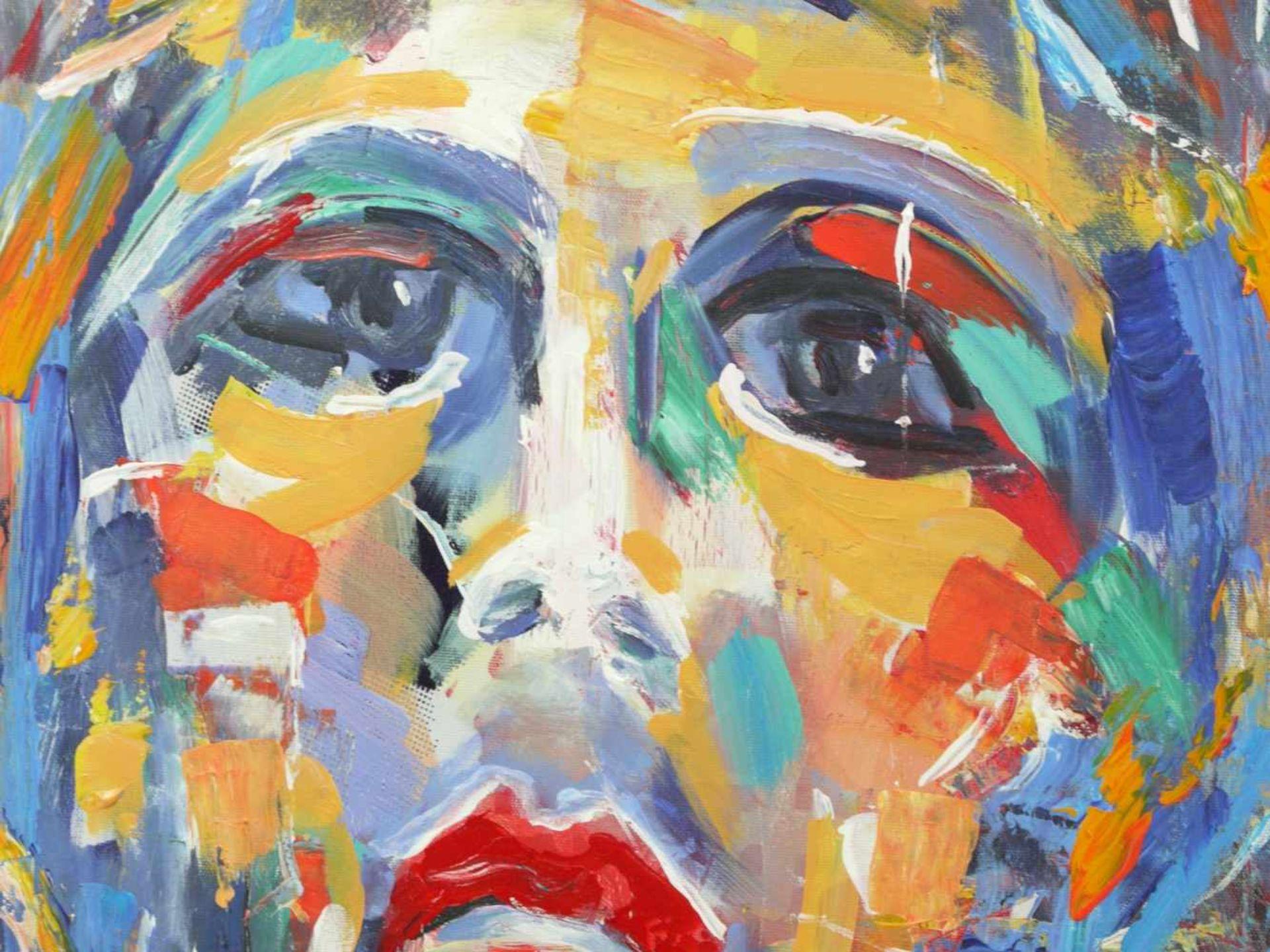Mikel, Thomas (1948) - Expressives Portrait einer FrauAusdrucksstarkes Gemälde, das Gesicht der Frau - Bild 2 aus 6