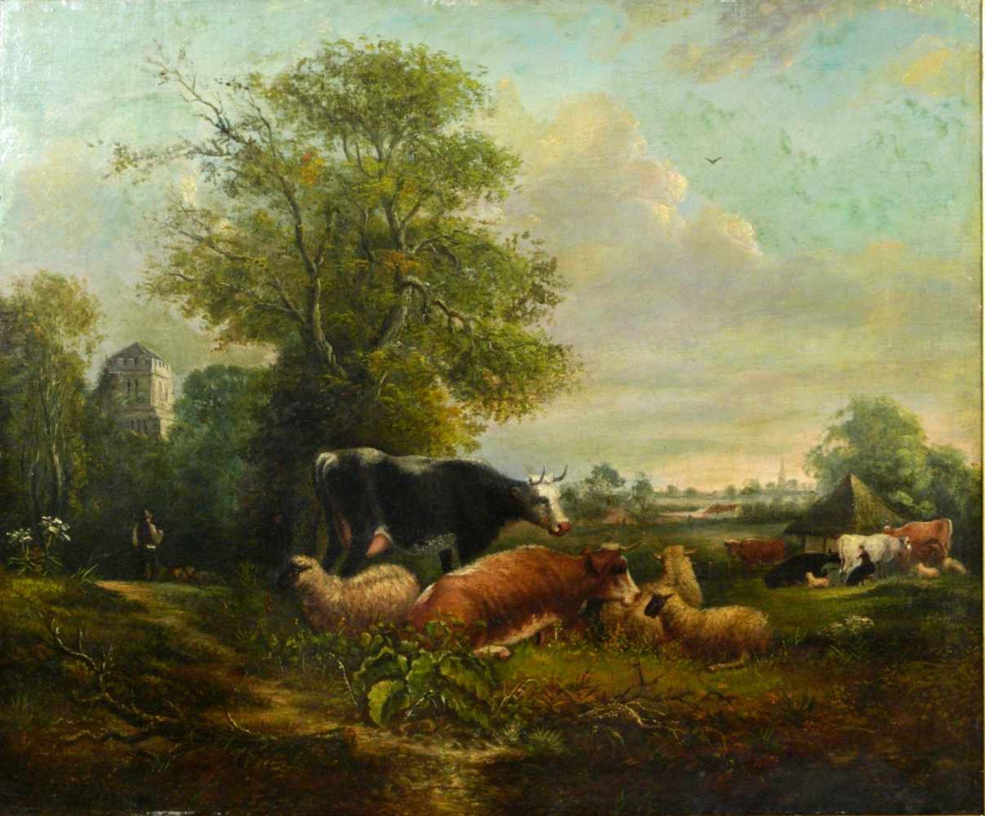 Van Os, Pieter Gerardus (1776-1839) - Romantische Landschaft mit Tieren und SchäferIdealistische - Bild 2 aus 8