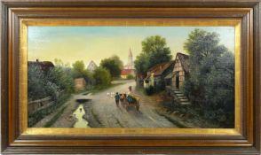 Moser, Herrmann (1835-?) - Dorfstraße in NiederbayernBlick in eine typisch bayerisch dörfliche