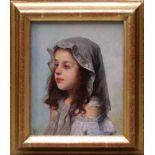 Rossi, Alberto (1858-1936) - Portrait enes jungen MädchensFein und detailreich ausgeführtes