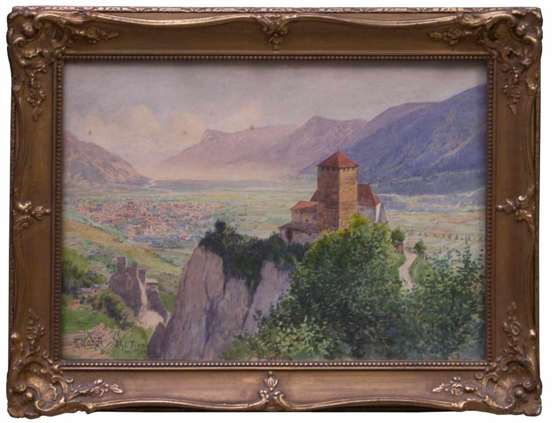Kargl, Rudolf (1878-1942) - Schloss Tirol mit MeranKleines Querformat, hinter der charakteristischen