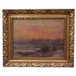Pieper, Christian (1834-1934) - WinterlandschaftDörfliche Landschaft vor einem rot eingefärbten