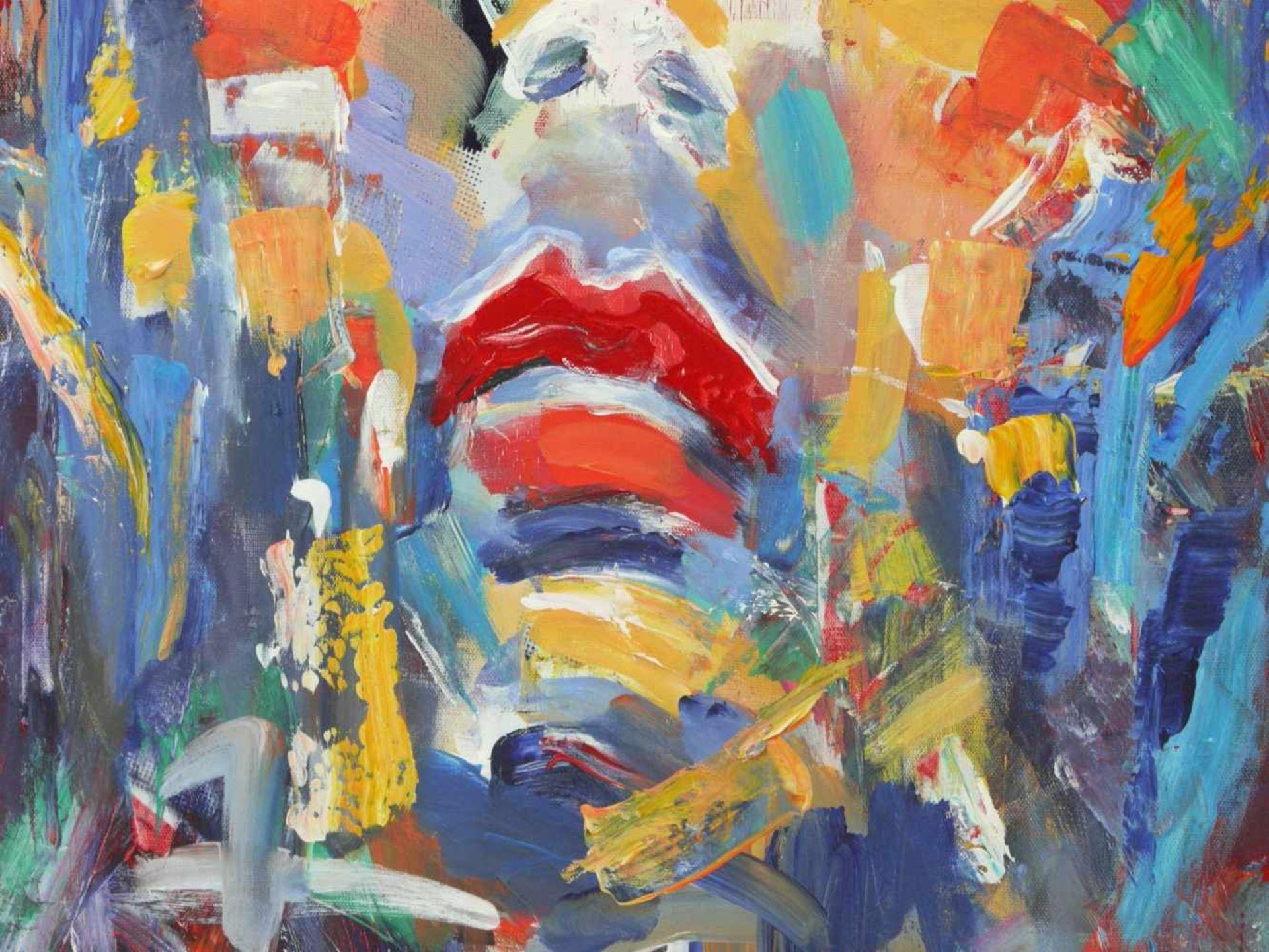Mikel, Thomas (1948) - Expressives Portrait einer FrauAusdrucksstarkes Gemälde, das Gesicht der Frau - Bild 3 aus 6