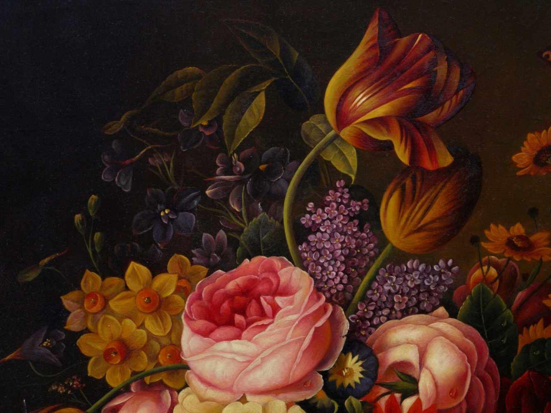 Holstayn, Josef (1930-?) - BlumenstückFeinste Malerei in typischer Manier des Künstler. Meisterhafte - Bild 6 aus 10