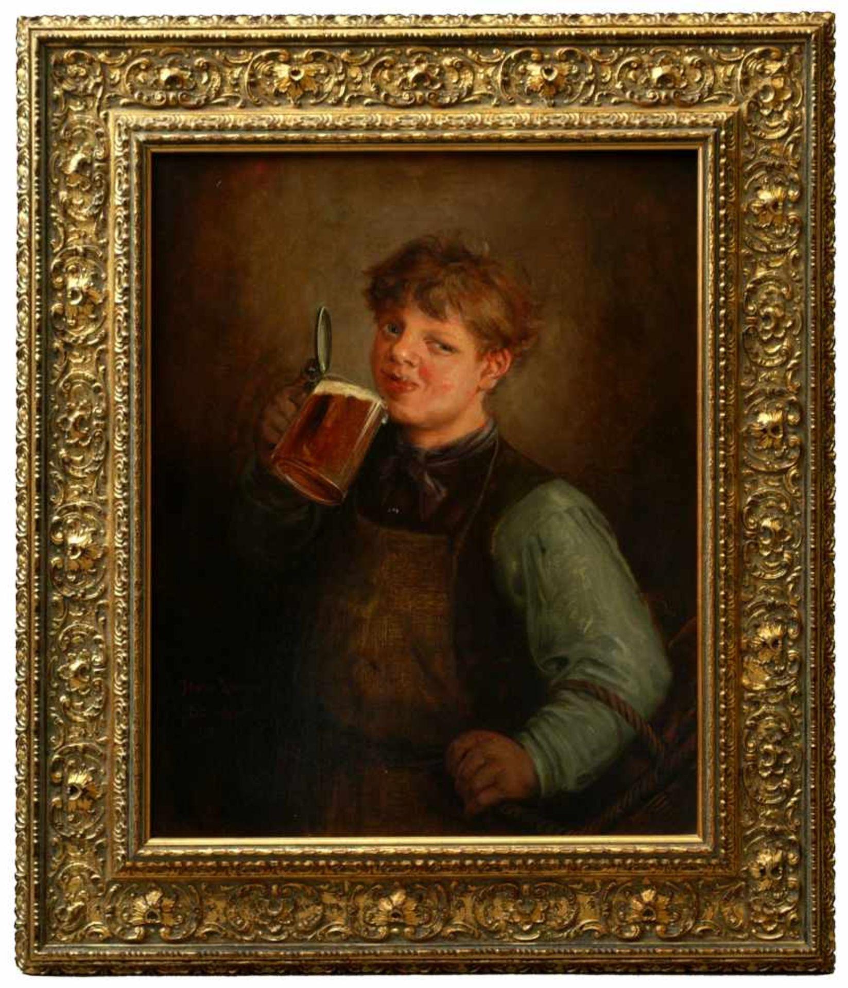 Lassen, Hans August (1857-1931) - Biertrinkender Jüngling Düsseldorf 1890Großformatiges Hüftstück,