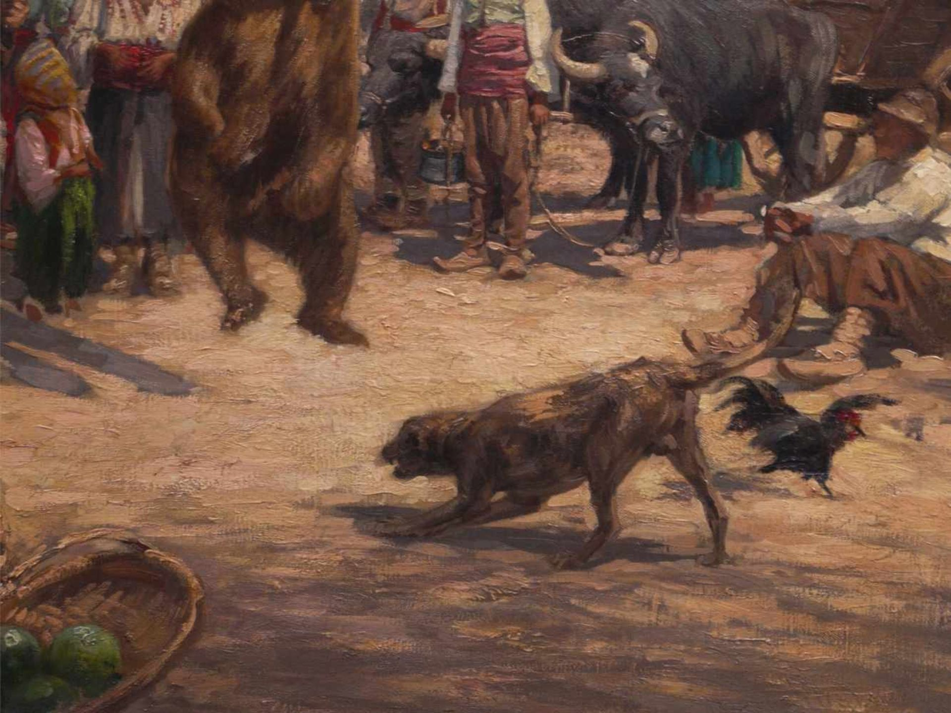 Klingemann, Hugo (1869-1942) - Tanzbär in RumänienDörfliche Szenerie, die Gemeinschaft hat sich - Bild 4 aus 6