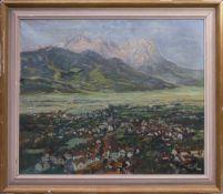 Hamel, Prof. Otto (1866-1950) - Garmisch Partenkirchen mit ZugspitzeGroßformatiges