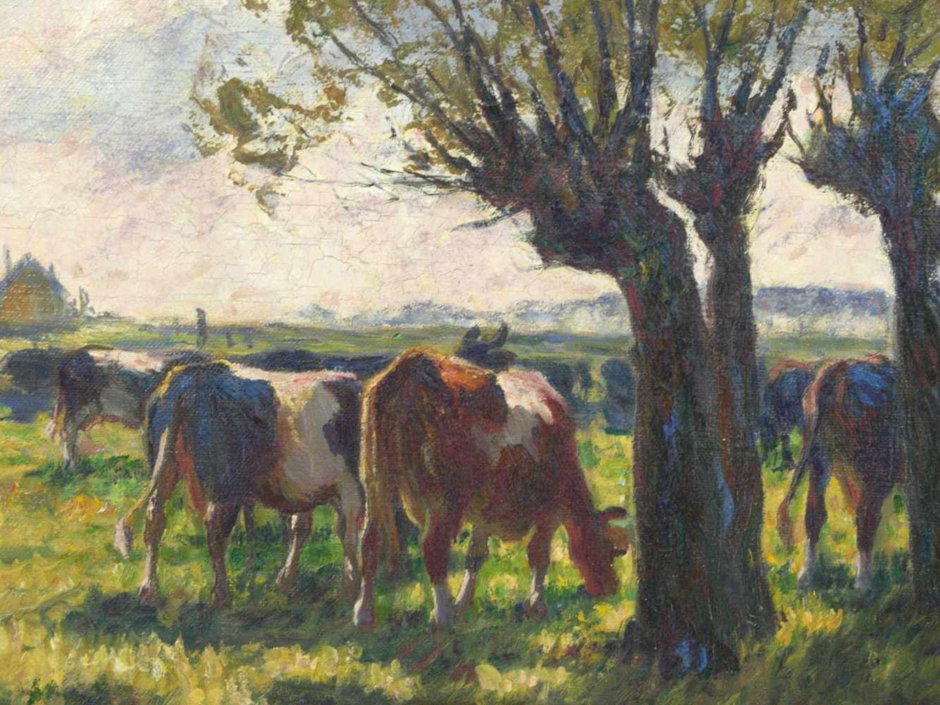 Baur, Albert (1867-1959) - Sonniger Tag an der Anger (Niederrhein)An einem mit vier großen Weiden - Bild 6 aus 6