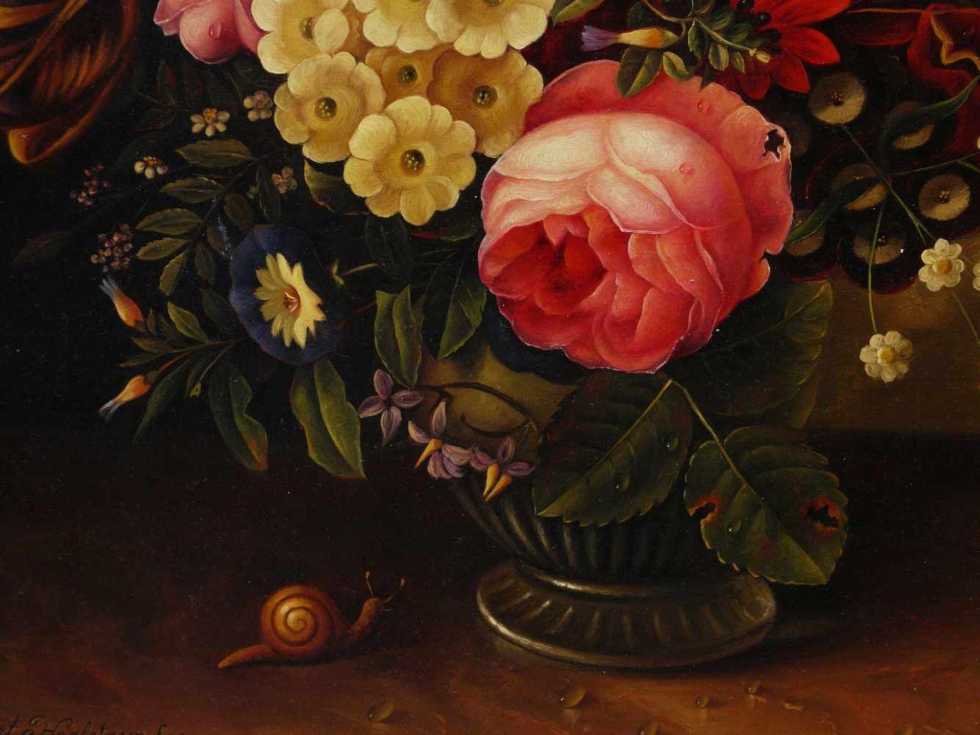 Holstayn, Josef (1930-?) - BlumenstückFeinste Malerei in typischer Manier des Künstler. Meisterhafte - Bild 4 aus 10