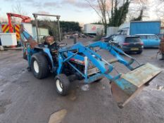MITSUBISHI MT300D TRACTOR WITH LOADER BACKHOE 4X4, GRASS TYRES, 30 HP *PLUS VAT*