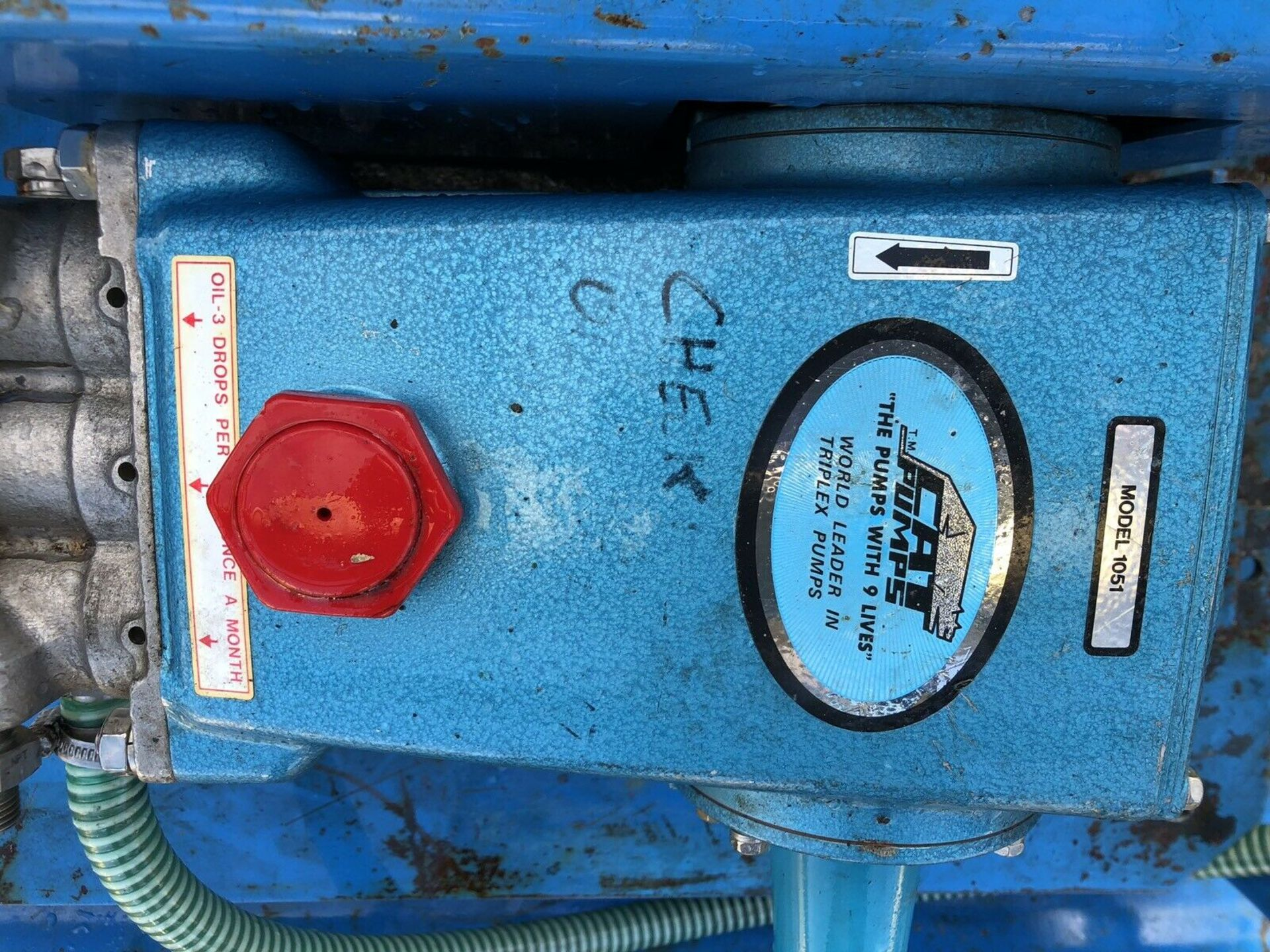 Lot 101 - RUGGERINI 2 CYLINDER ELECTRIC START DIESEL JET WASH, CAT1051 PUMP (2200 PSI, 10GPM) VERY LITTLE USE