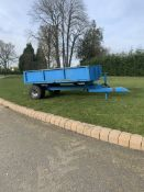 BLUE STEEL FRAME SINGLE AXLE TRAILER, 3 METERS LONG 1.6 METERS WIDE, GOOD SOLID CONDITION *PLUS VAT*