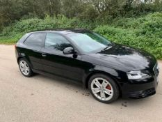 2010/10 REG AUDI A3 SPORT TFSI 1.4 PETROL BLACK 3 DOOR HATCHBACK, SHOWING 2 FORMER KEEPERS *NO VAT*