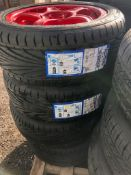 X2 SETS OF POWDER COATED RIMS C/W NEW TYRES FROM A MITSUBISHI EVO *PLUS VAT*