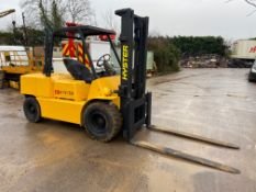 HYSTER H110 5 TON LIFT DIESEL FORKLIFT, PERKINS 4 CYLINDER ENGINE, OPERATES & WORKS AS IT SHOULD