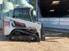 BOBCAT COMPACT TRACKED LOADER, MODEL T110, C/W FORKS, ROTAVATOR & BUCKET *PLUS VAT*