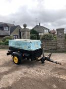 2005 ATLAS COPCO XAS 47 SINGLE AXLE AIR COMPRESSOR, RUNS, WORKS, MAKES AIR, 3 CYLINDER DEUTZ ENGINE