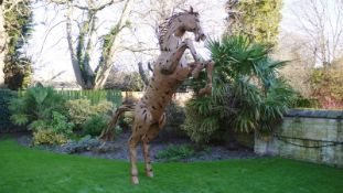 RARE METAL REARING HORSE STATUE - 11 FEET HIGH !