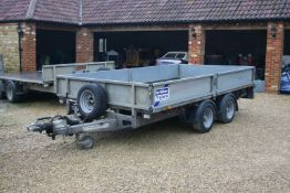 IFOR WILLIAMS 126G TWIN AXLE TRAILER, YEAR 2015, C/W REAR RAMPS, SIDES & SPARE WHEEL *PLUS VAT*