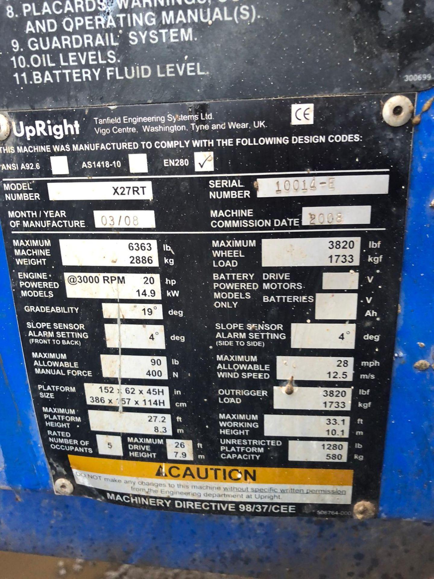 Lot 106 - UPRIGHT X27RT 4X4 SCISSOR LIFT, RUNS AND WORKS WELL, 4 WHEEL DRIVE, YEAR 2008 *PLUS VAT*