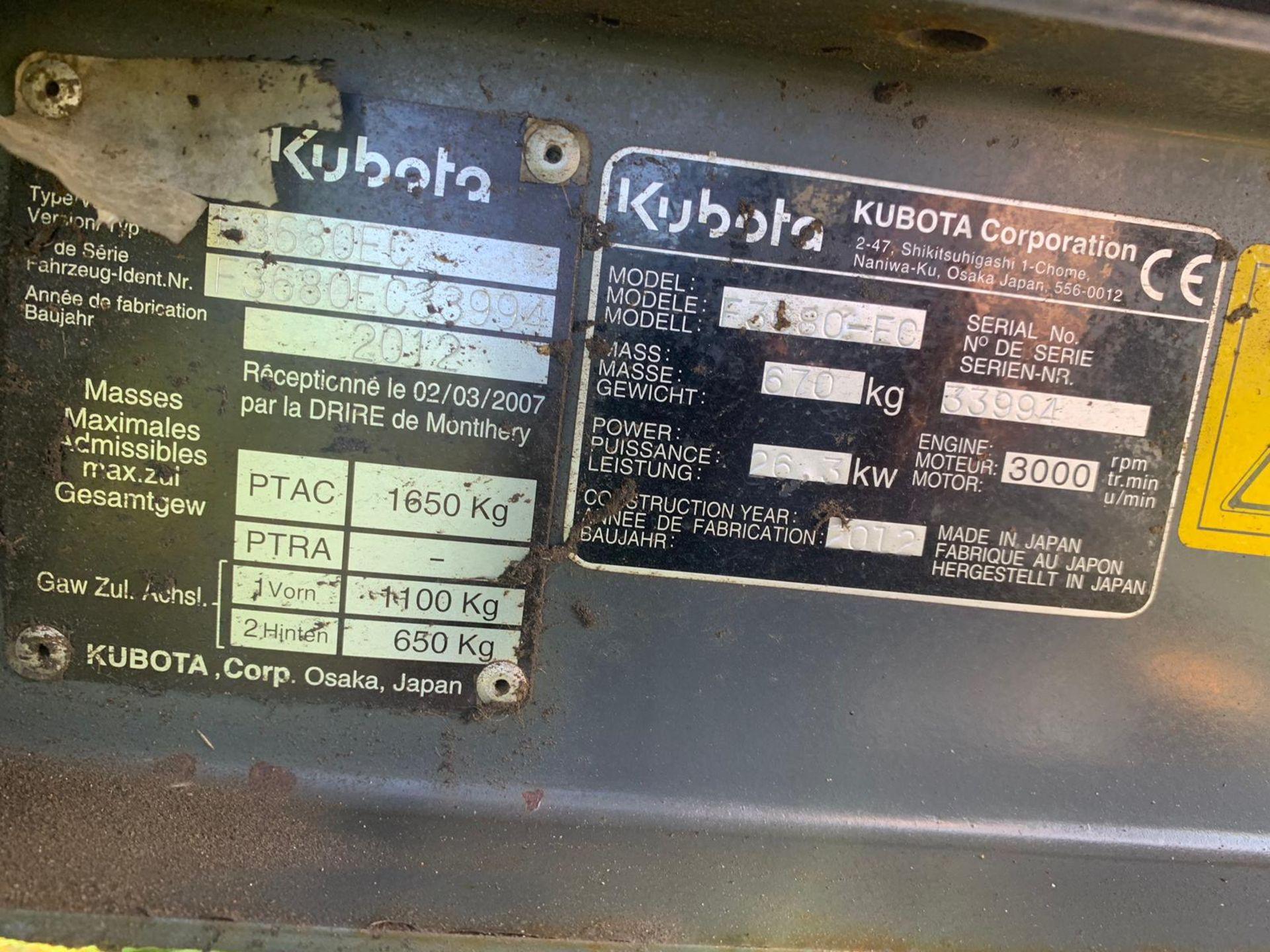 Los 202 - 2012 KUBOTA F3680 OUT FRONT 4WD HST MOWER, TURF TYRES, 35 HP DIESEL ENGINE *PLUS VAT*
