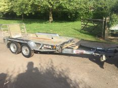 BRADLEY TWIN AXLE TOW-ABLE PLANT TRAILER, ALL BRAKES TESTED AND HUBS GREASED, LIGHTS WORK *PLUS VAT*