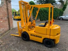 MITSUBISHI FG15 1.4 TON CAPACITY YELLOW PETROL FORKLIFT, RUNS, WORKS, LIFTS, 1694 HOURS *PLUS VAT*