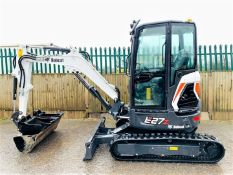 BOBCAT E27Z TRACKED RUBBER CRAWLER DIGGER / EXCAVATOR, YEAR 2019, 55 HOURS, QUICK HITCH & 3 BUCKETS