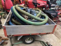 WATER PUMP COMPLETE WITH INLET AND OUTLET PIPES ON LARGE TRAILER - UNTESTED *PLUS VAT*