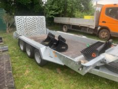 RARE 2020 IFOR WILLIAMS TRI-AXLE TRAILER, GH146BT-3 VERY LITTLE USE 3 WEEKS OLD AS NEW CONDITION