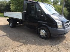 2013/63 REG FORD TRANSIT 100 T350 RWD 2.2 DIESEL DROPSIDE LORRY TIPPER, SHOWING 0 FORMER KEEPERS