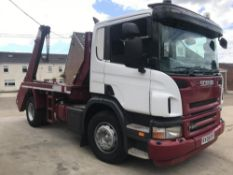2008/08 REG SCANIA P230 18TON SKIP LOADER EXTENDING ARMS MANUAL GEARBOX, SHOWING 1 FORMER KEEPER