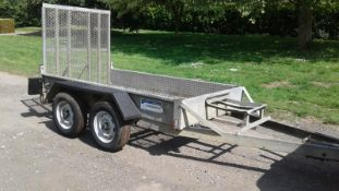 INDESPENSION TWIN AXLE TOW-ABLE PLANT TRAILER, 4 X EXCELLENT TYRES, TOWS WELL, 1400KG EACH AXLE
