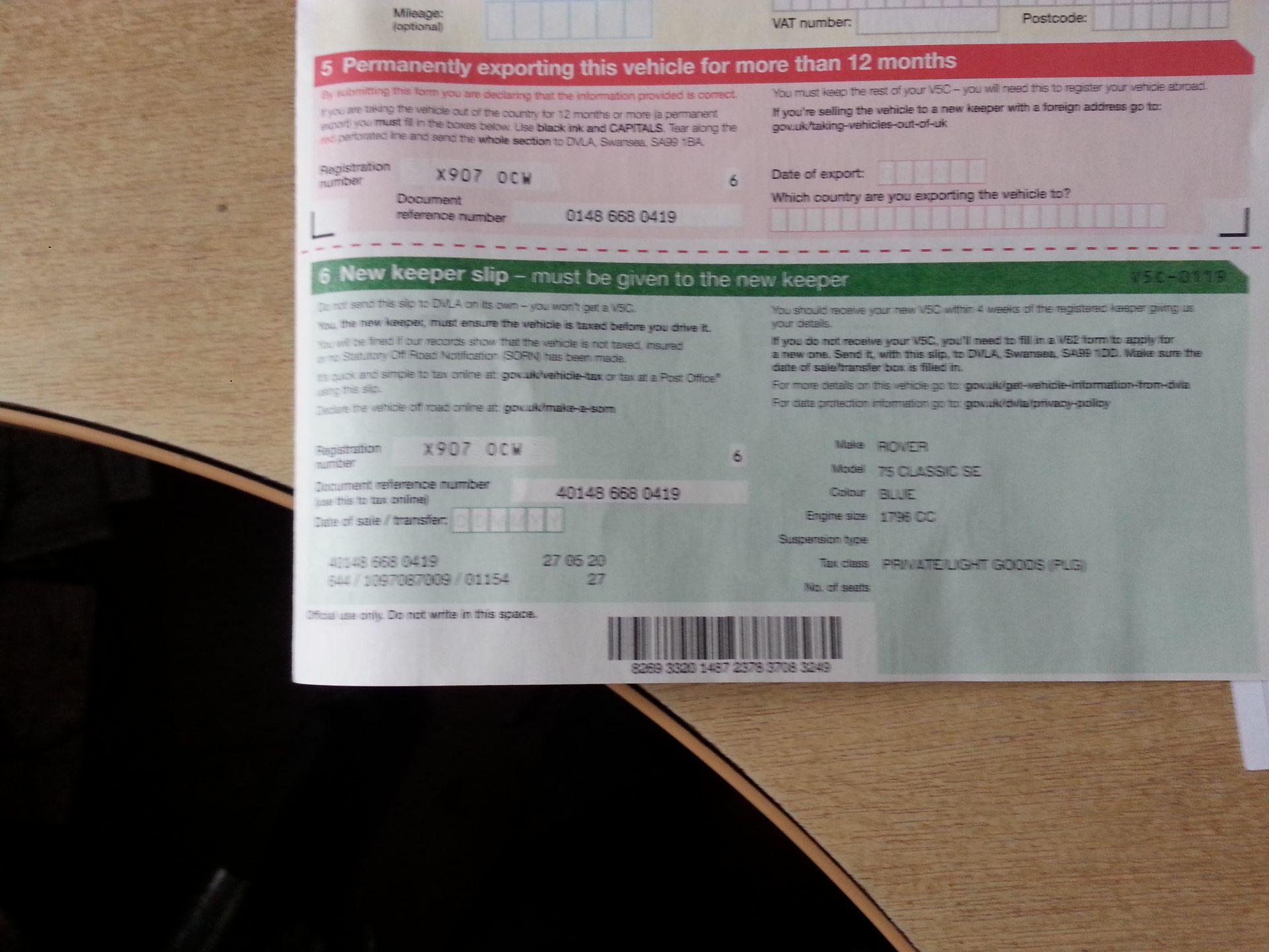 Lot 58 - 2000/X REG ROVER 75 CLASSIC SE 1.8 PETROL BLUE 4 DOOR SALOON *NO VAT*