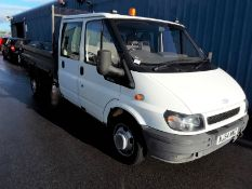 2004/54 REG FORD TRANSIT 350 LWB DOUBLE CAB 6 SEATER WHITE DROPSIDE TIPPER RWD DIESEL 90PS *PLUS VAT