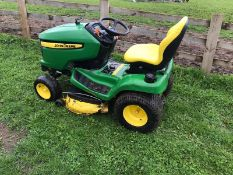 "JOHN DEERE X320 RIDE ON LAWN MOWER, C/W 42"" MID MOUNTED DECK, YEAR 2013, WORKING HOURS 1237"