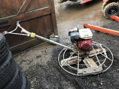 MBW CONCRETE POWER FLOAT SCREED, RUNS AND WORKS WELL, HONDA GX240 ENGINE *NO VAT*