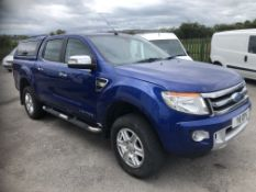 2011/61 REG FORD RANGER LIMITED 4X4 TDCI DCB 2.2 DIESEL BLUE PICK-UP, SHOWING 5 FORMER KEEPERS