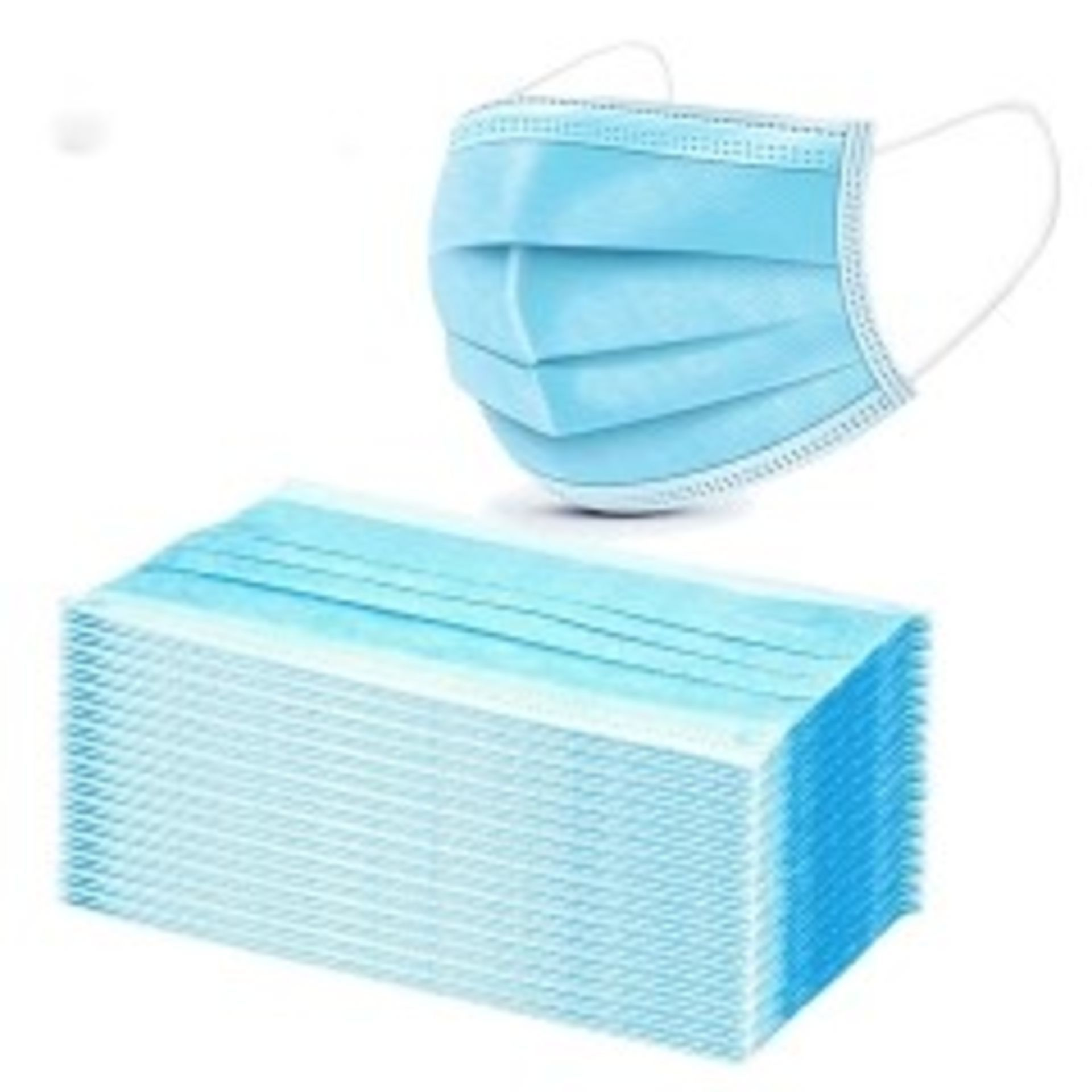 Lot 33 - 100 IN TOTAL 3 X PLY DISPOSABLE FACE MASKS *NO VAT*