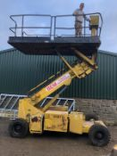 1991 TOKYU HZT-090 WHEELED SCISSOR BOOM LIFT. JAPANESE MADE, STARTS, DRIVES & LIFTS *PLUS VAT*
