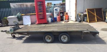 TOW-ABLE TWIN AXLE FLATBED TRAILER C/W WINCH AND JOCKEY WHEEL 5FT X 12FT BED *NO VAT*