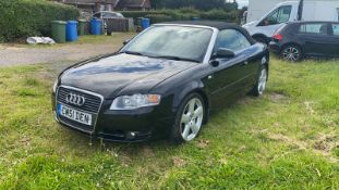 2008/08 REG AUDI A4 S LINE TDI 140 2.0 DIESEL BLACK CONVERTIBLE, SHOWING 3 FORMER KEEPERS *NO VAT*