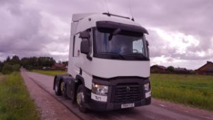 2014/14 REG RENAULT TRUCKS T T460.26 6X2 TML LHD WHITE DIESEL TRACTOR UNIT, SHOWING 1 FORMER KEEPER