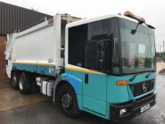 2008/08 REG MERCEDES ECONIC 6X2 REFUSE TRUCK HEIL BODY TERBERG TWIN BIN LIFT REAR STEER EX COUNCIL