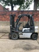 2008 NISSAN 2.5 TON FORKLIFT, NISSAN DIESEL ENGINE, TRIPLE MAST, 3 LIFT MAST, RUNS, DRIVES & LIFTS