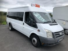 2008/57 REG FORD TRANSIT 100 8 SEATER RWD WHITE MINIBUS, SHOWING 2 FORMER KEEPERS *NO VAT*