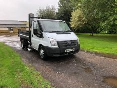 2008/08 REG FORD TRANSIT 100 T350M RWD 2.4 DIESEL WHITE TIPPER DROPSIDE, SHOWING 0 FORMER KEEPERS