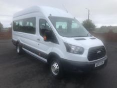 2017/17 REG FORD TRANSIT 460 ECONETIC TECH 2.2 DIESEL WHITE 17 SEAT MINIBUS, SHOWING 0 FORMER KEEPER